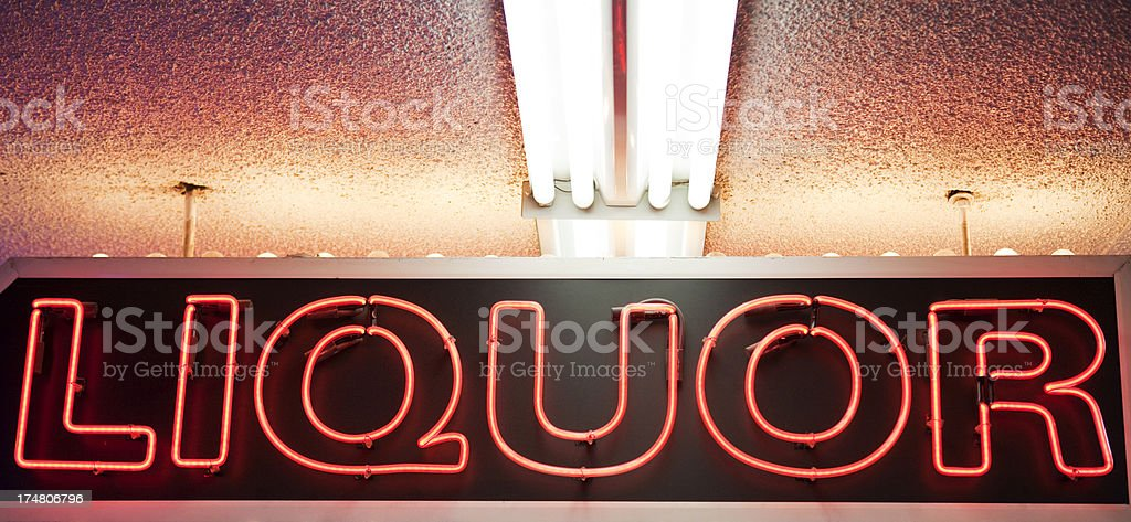 Liquor Neon Sign royalty-free stock photo