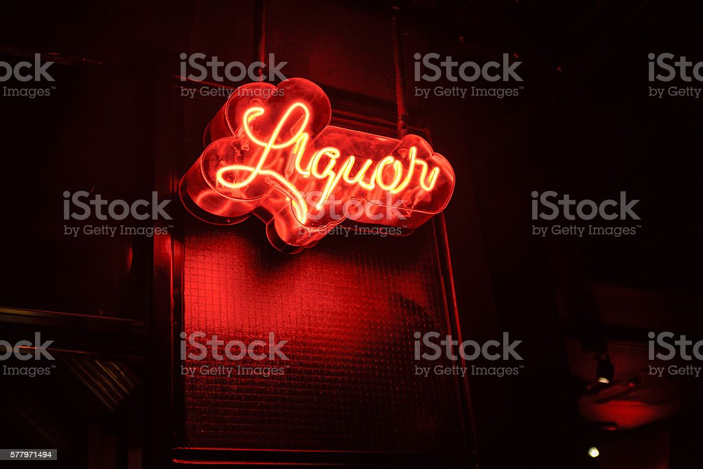 liquor neon sign stock photo