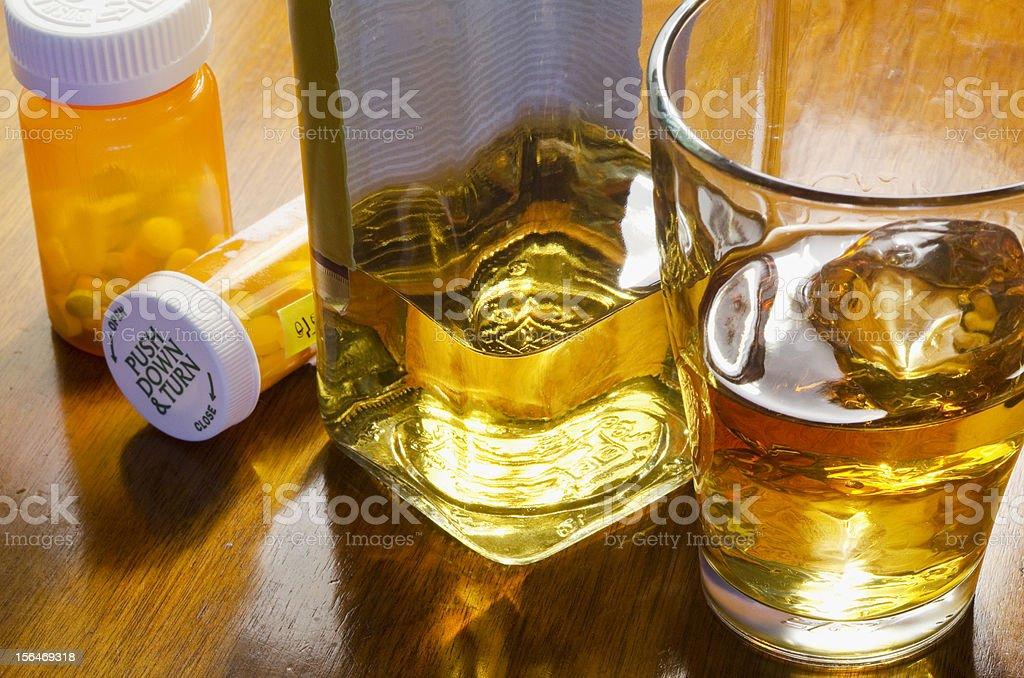liquor with pills royalty-free stock photo