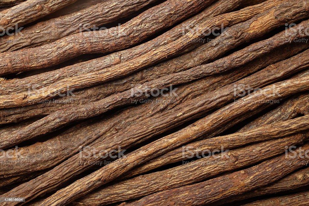 Liquorice root diagonal background stock photo