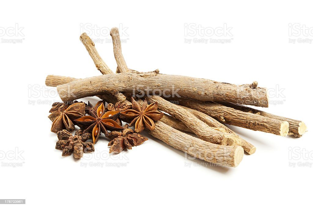 Liquorice roots and star anise stock photo