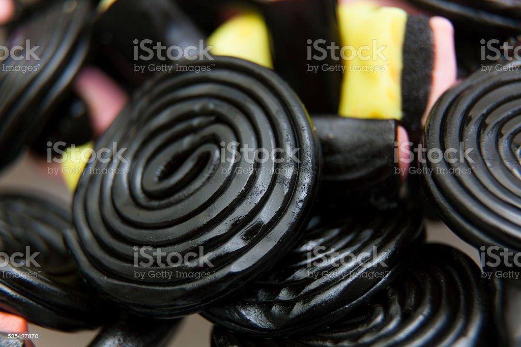 Liquorice snails stock photo