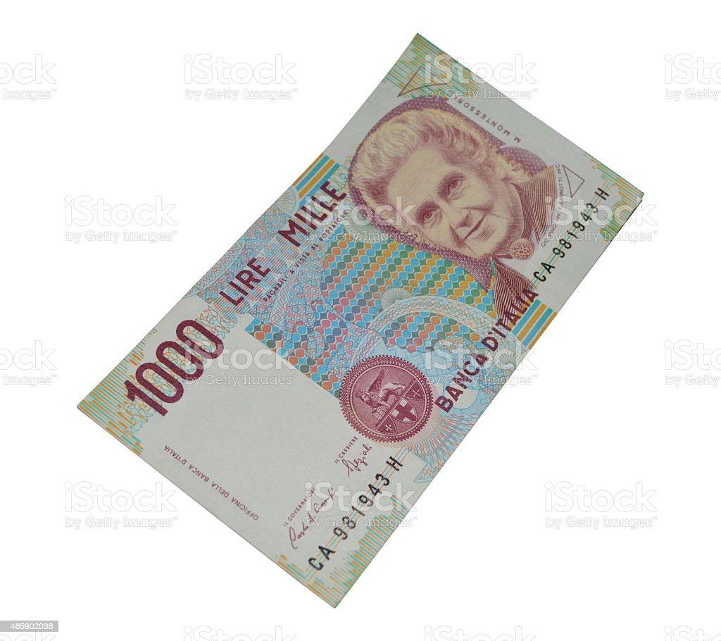 1.000 lira italiana de billetes de banco de moneda antigua foto de stock libre de derechos