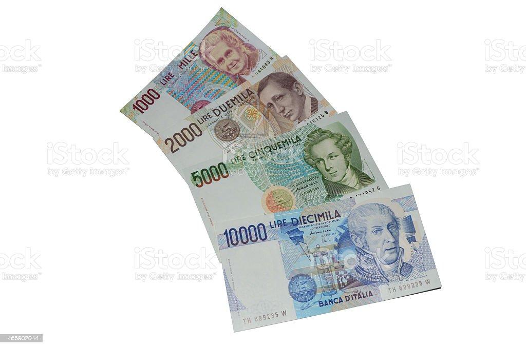 Lira italiana de billetes de banco de moneda antigua foto de stock libre de derechos