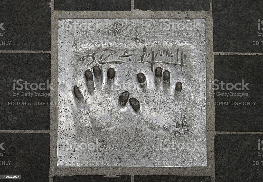 Lisa Minnelli Hand print and signature. stock photo