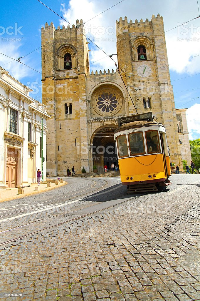 Lisboa historical cable car stock photo