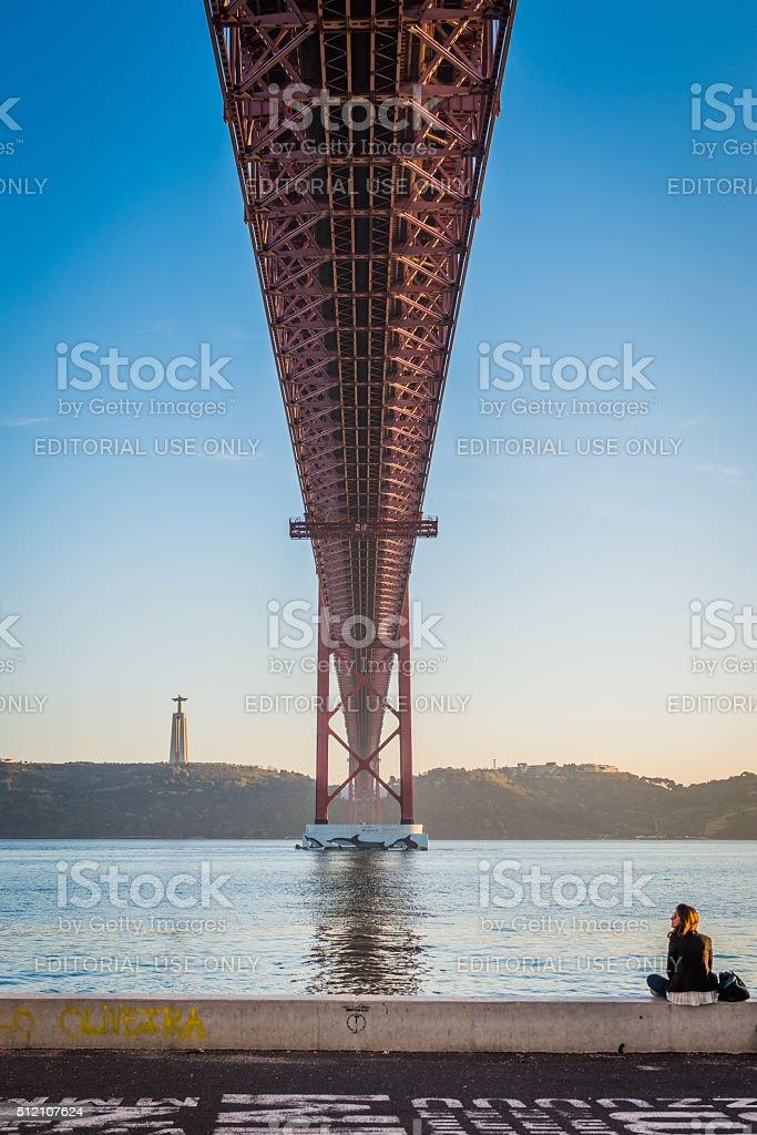 Lisbon, 25th of April Bridge stock photo