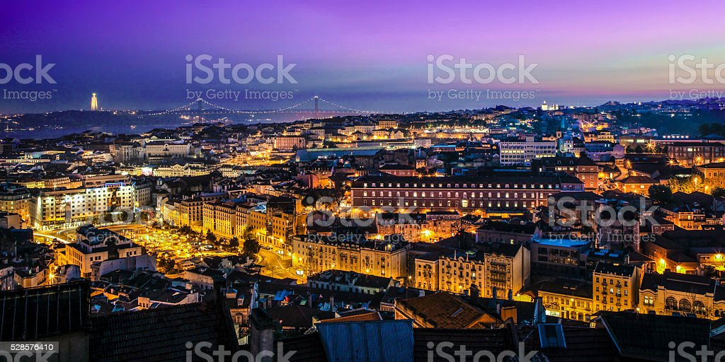 Lisbon at night stock photo