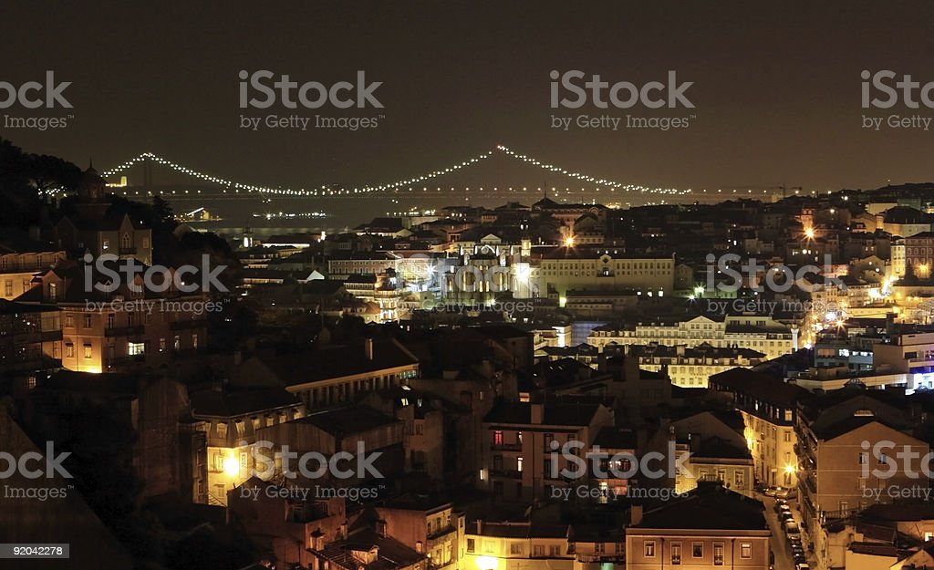 Lisbon at night royalty-free stock photo