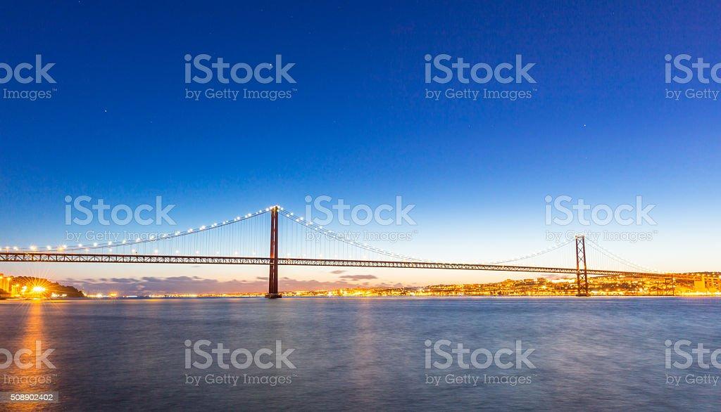 Lisbon Bridge at dusk stock photo