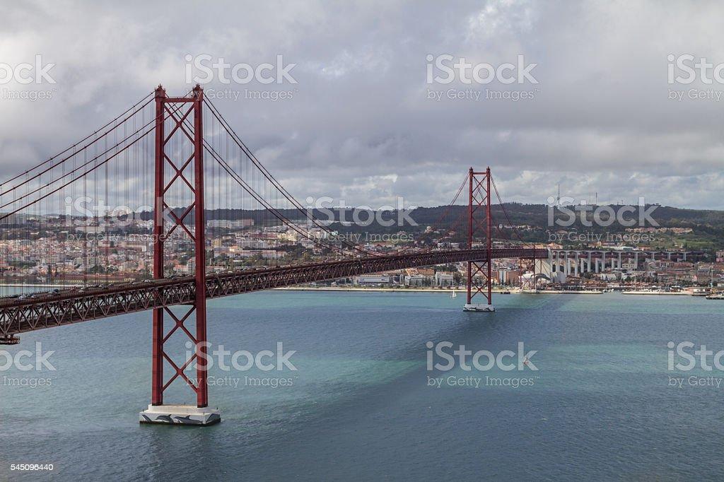 Lisbon Bridge on April 25 stock photo