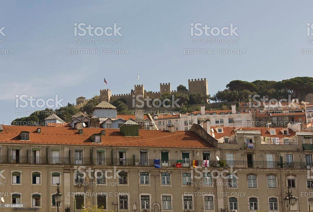 Lisbon buildings in Baixa quartier stock photo