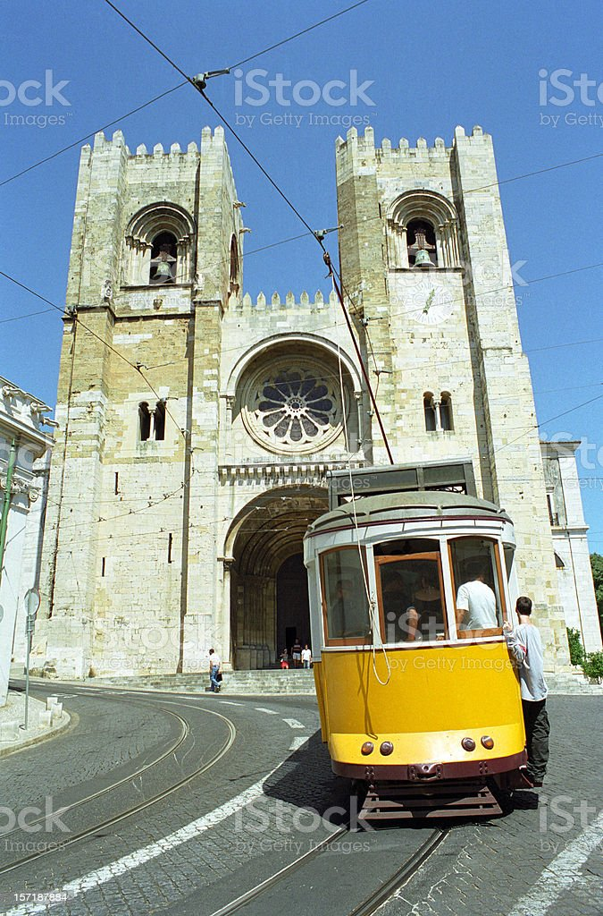 Lisbon cathedral and a tramway royalty-free stock photo