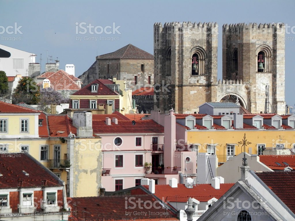 Lisbon Cathedral and rooftops stock photo
