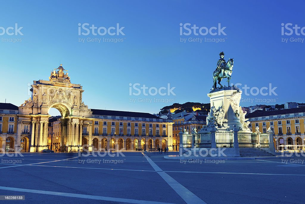 Lisbon city gate at the Commerce Square, Portugal stock photo