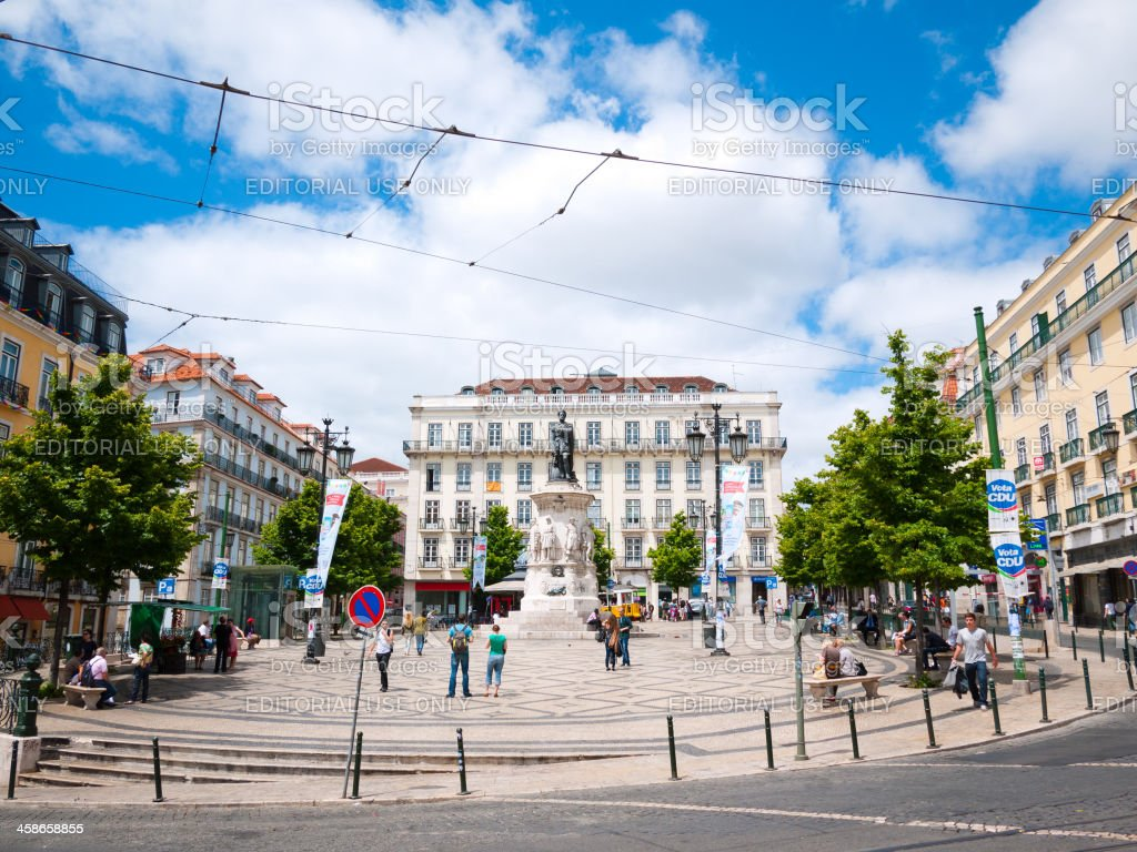 Lisbon City Landmark, Barrio Alto, Praca Luis de Camoes, Portugal royalty-free stock photo