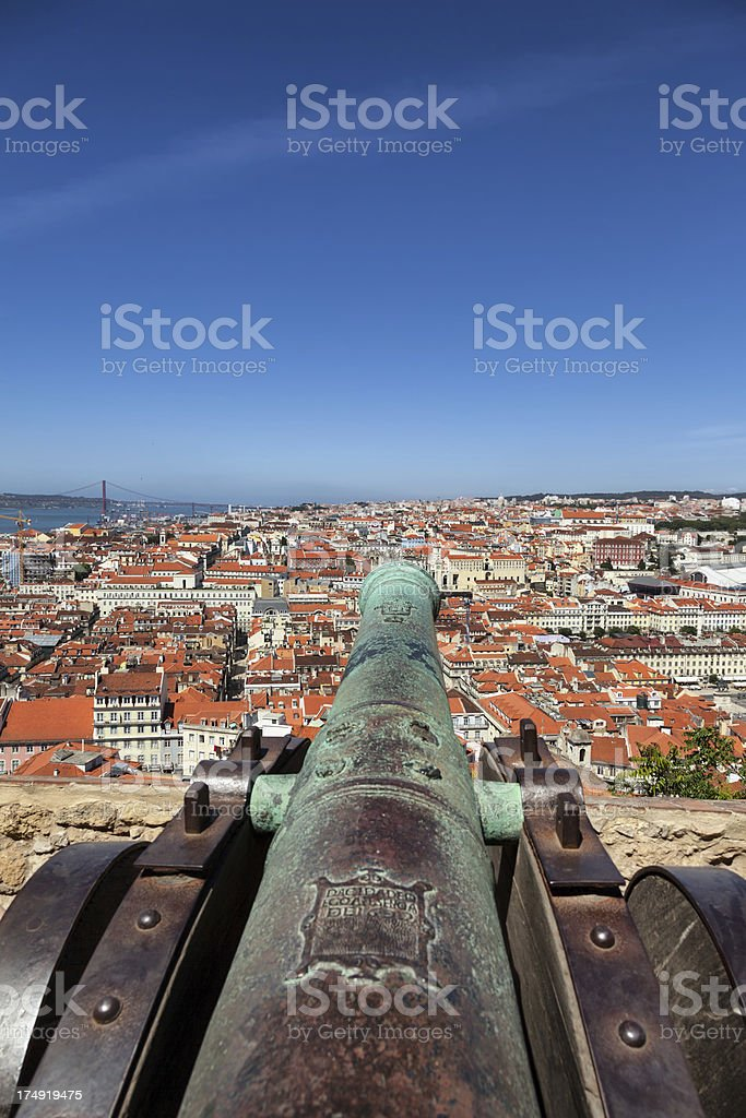 Lisbon city over a canon of the castle, Portugal stock photo