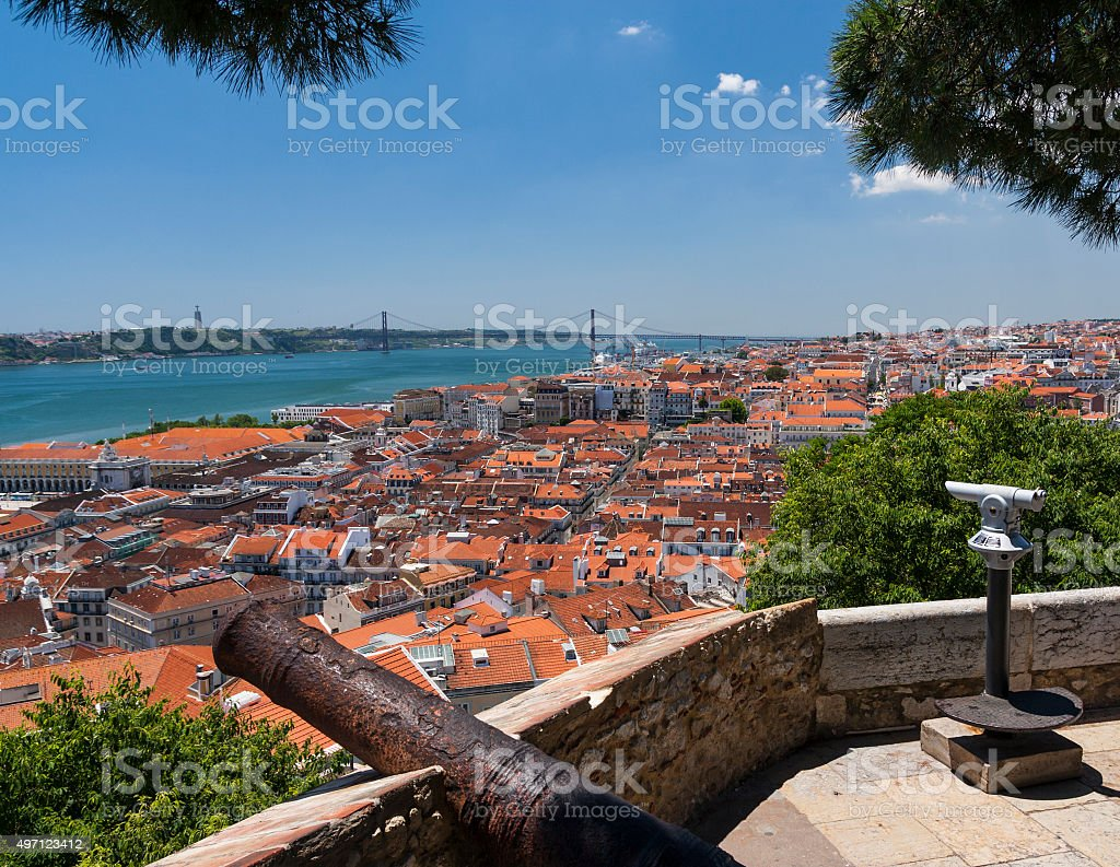 Lisbon cityscape in Portugal from Castelo de São Jorge viewpoint stock photo
