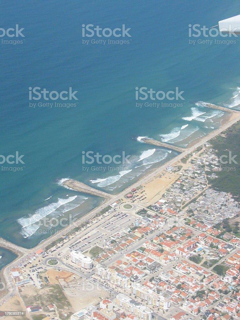 Lisbon coast from the air royalty-free stock photo
