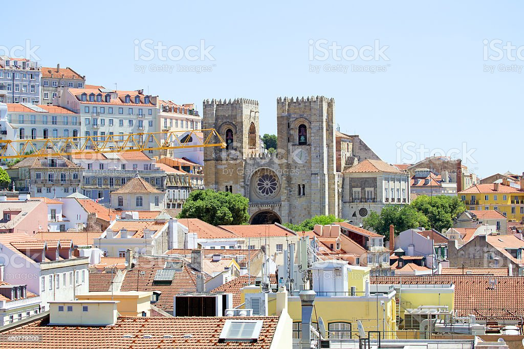 Lisbon downton old city  in Portugal stock photo