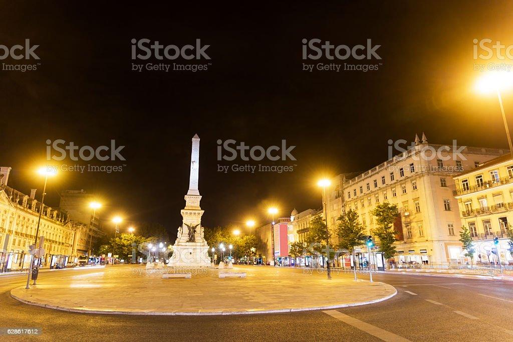 Lisbon downtown at night stock photo