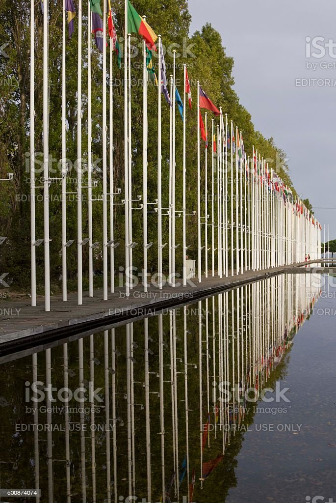 Lisbon Expo Area, with international flags stock photo