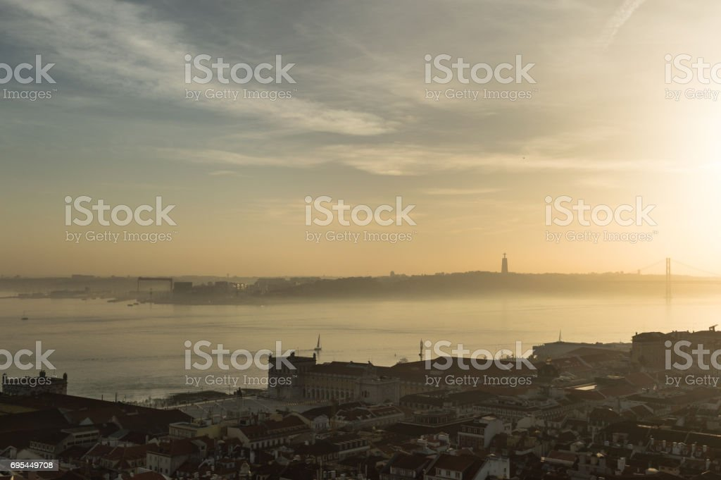 Lisbon from the St. George Castle stock photo