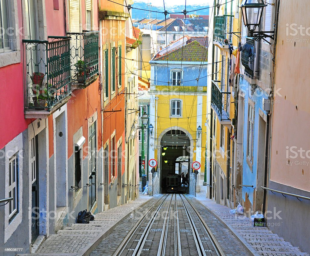 Lisbon funicular Bica stock photo