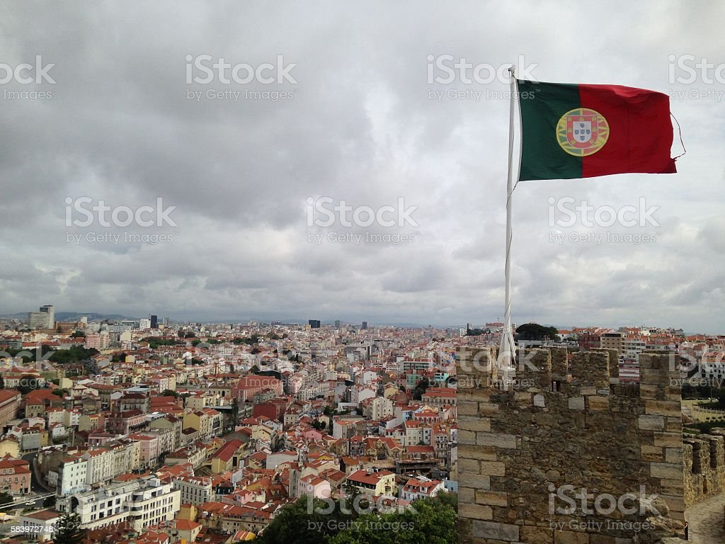 Lisbon in Portugal on a cloudy day stock photo