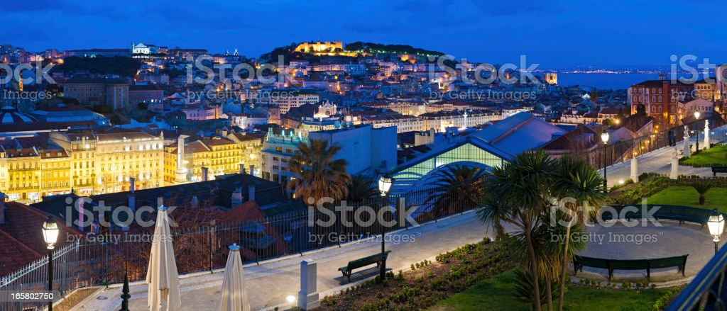 Lisbon lights and landmarks cityscape illuminated panorama Portugal royalty-free stock photo