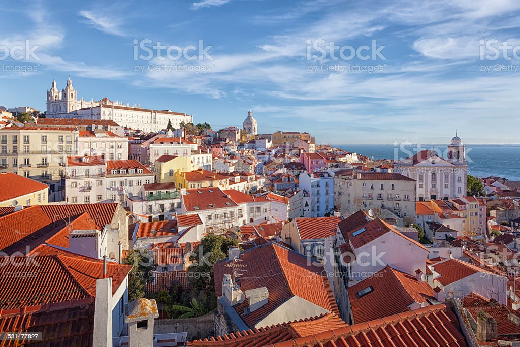 Lisbon old town Alfama district stock photo