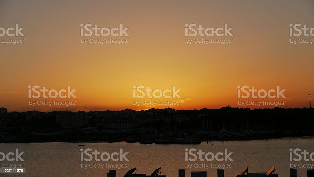 Lisbon Orange Sunset royalty-free stock photo
