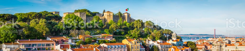 Lisbon panoramic view over city rooftops to Tagus River Portugal stock photo