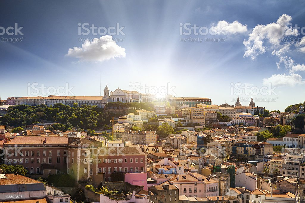 Lisbon, panoramic view to Afama stock photo