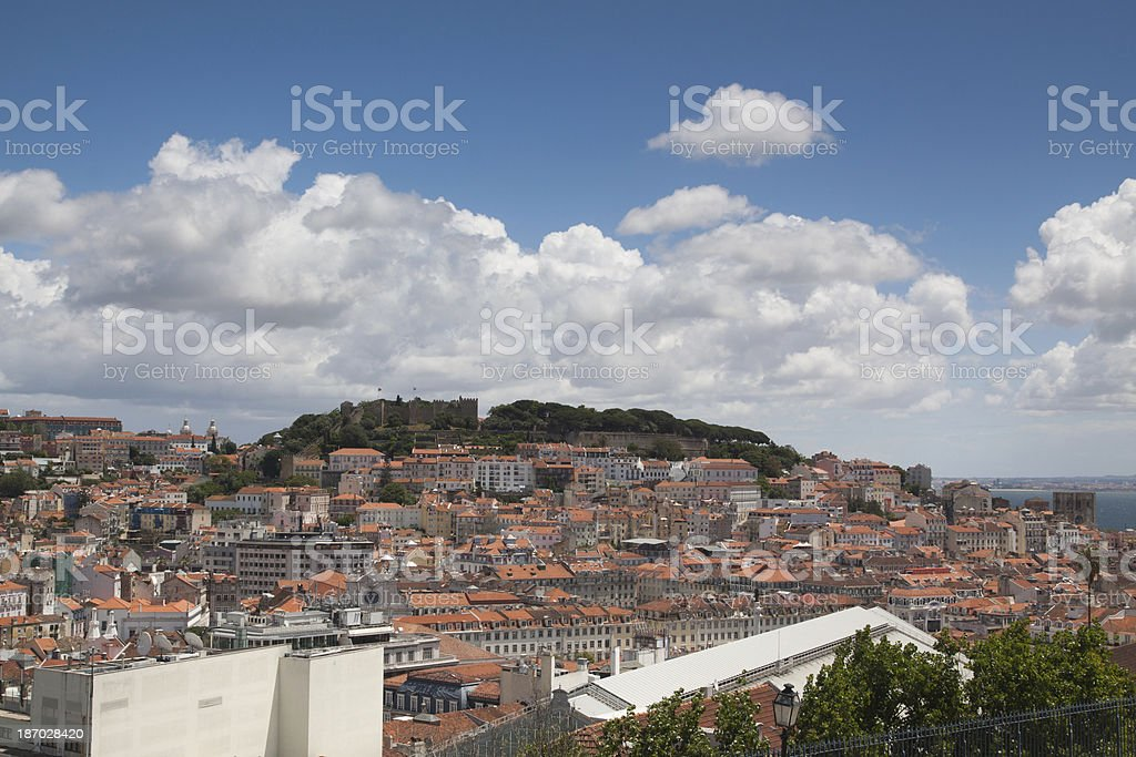 Lisbon, Portugal city Panorama of St George castle hill. royalty-free stock photo
