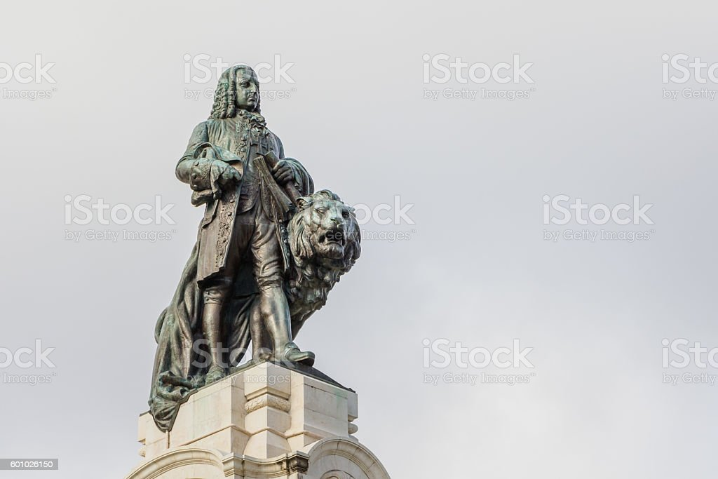 Lisbon, Portugal, monument on the Marques de Pombal square stock photo