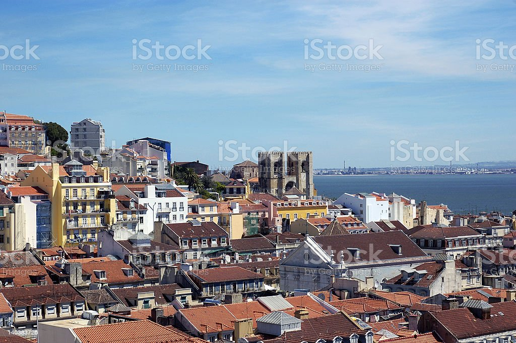 Lisbon, Portugal Panoramic View with sea stock photo