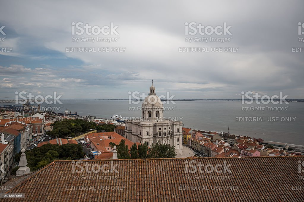 Lisbon, Portugal seen from St. Vincent Outside the Walls Church stock photo