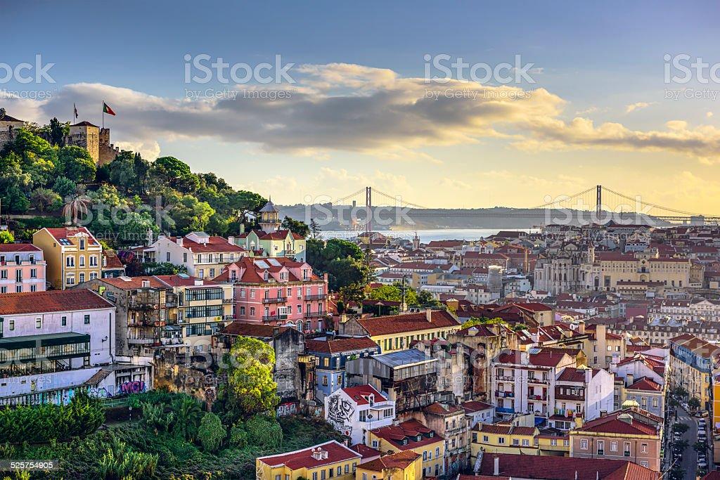 Lisbon, Portugal Skyline and Castle stock photo