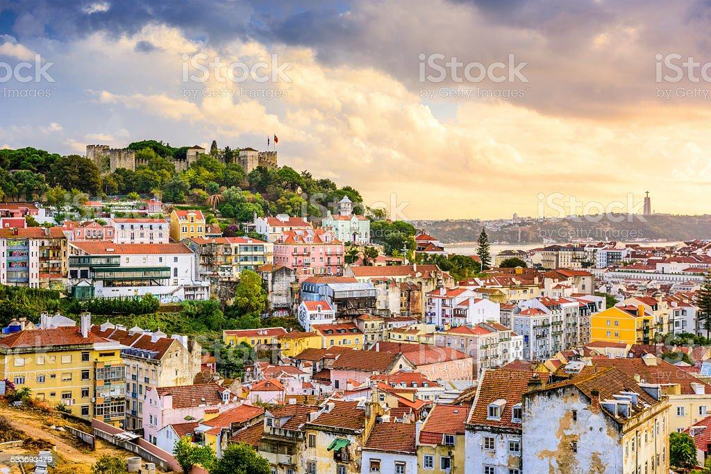 Lisbon, Portugal Skyline and Castle stock photo