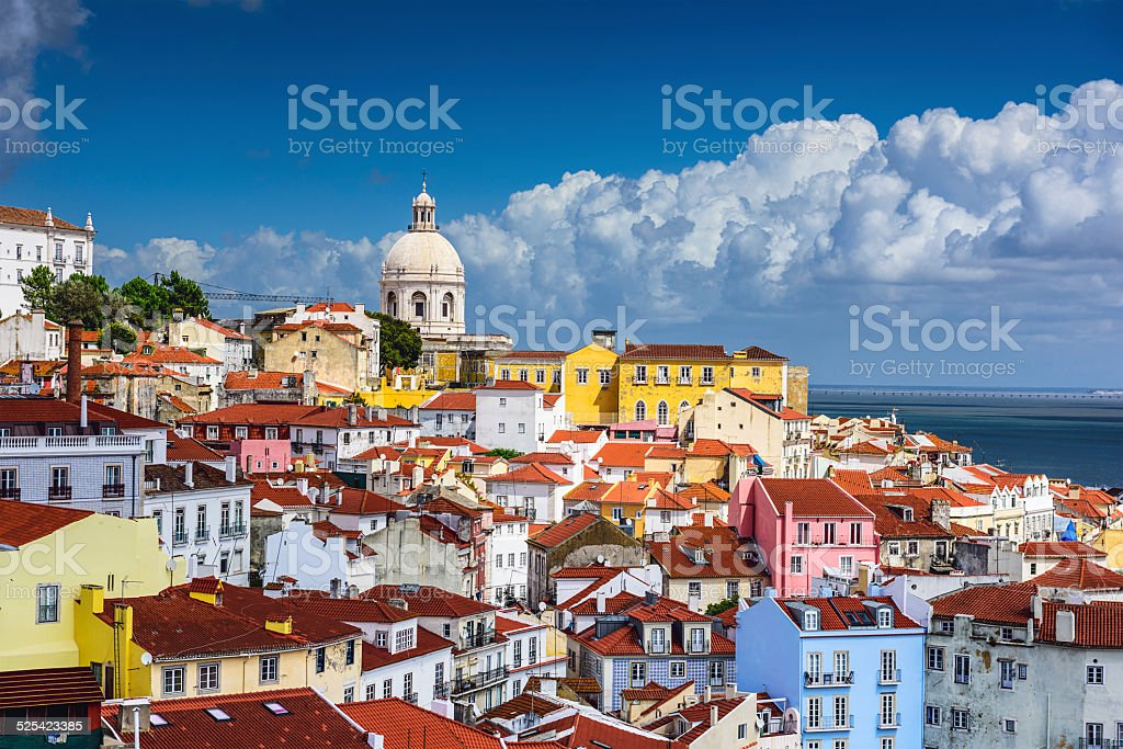 Lisbon, Portugal Skyline at Alfama stock photo
