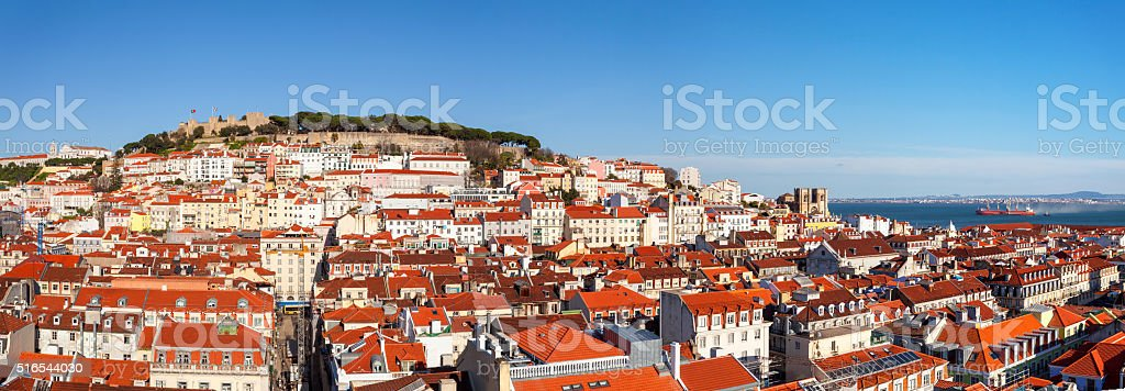 Lisbon Portugal skyline with castelo sao jorge and kathedral XXXL stock photo