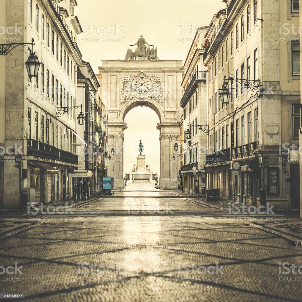 Lisbon,  Rua Augusta, cityscape stock photo
