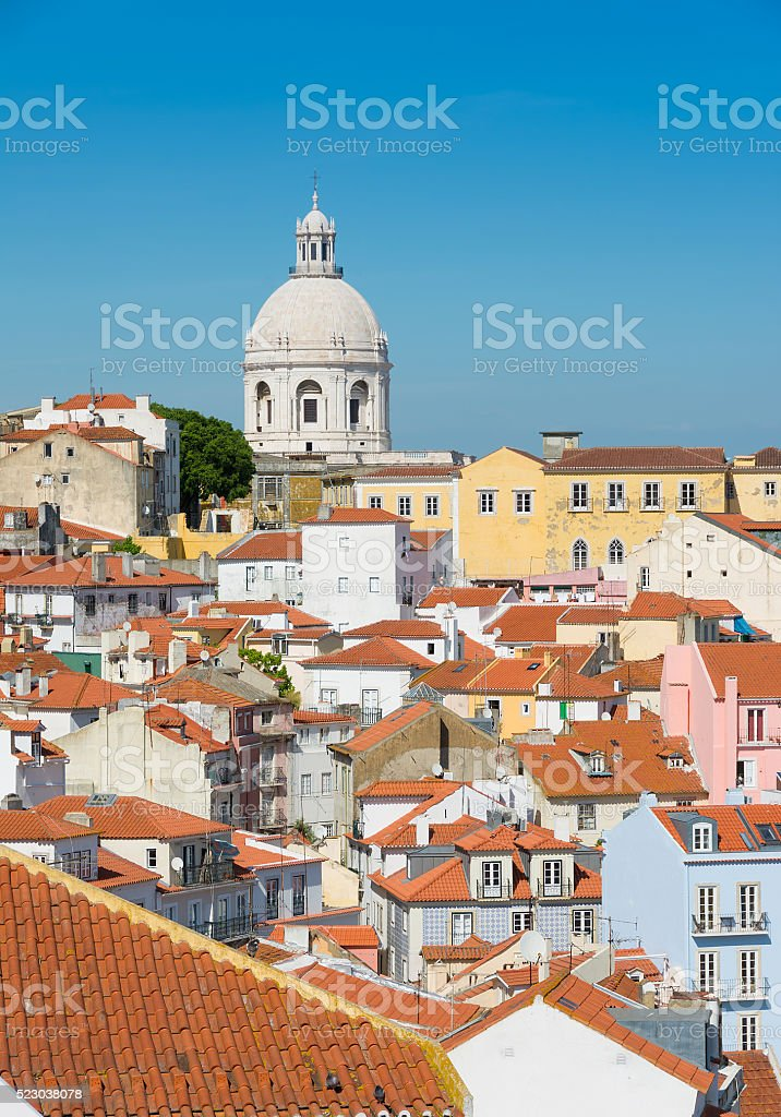 Lisbon skyline with National Pantheon. stock photo