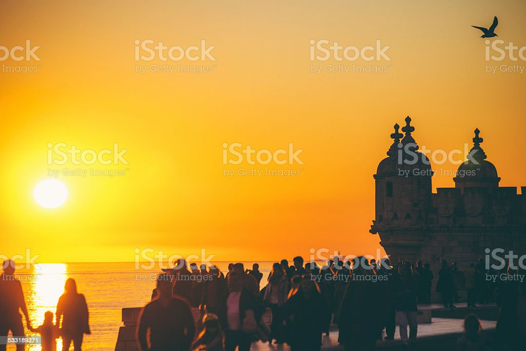 Lisbon sunset, Belem. stock photo