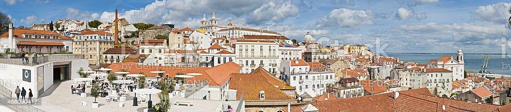 Lisbon terrace restaurant terracotta rooftops panorama Portugal royalty-free stock photo