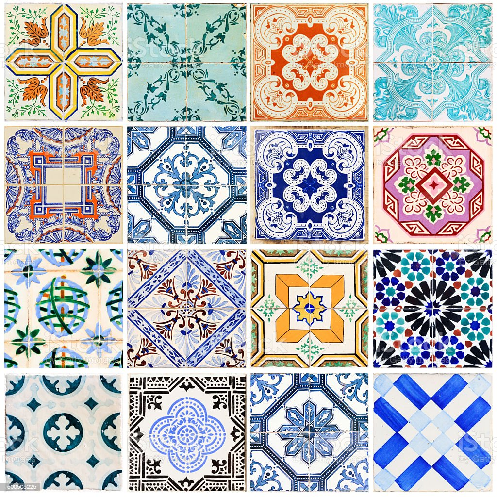Lisbon tiles collage white stock photo