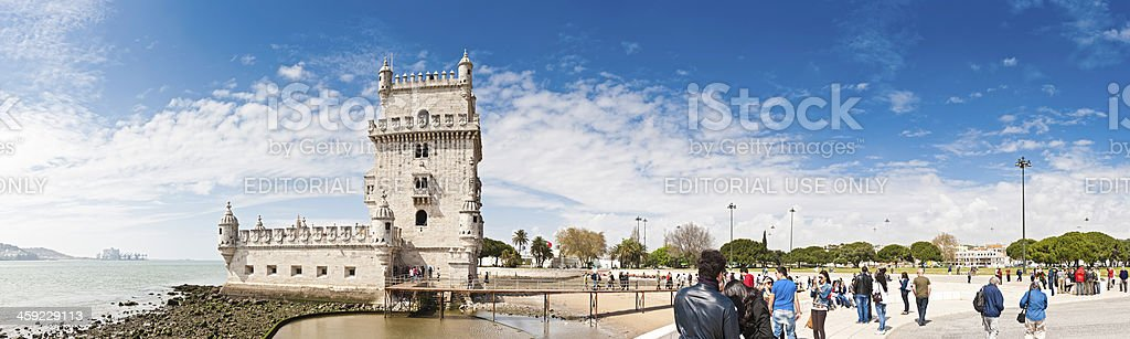Lisbon tourists visiting Belem Tower River Tagus landmark Portugal royalty-free stock photo