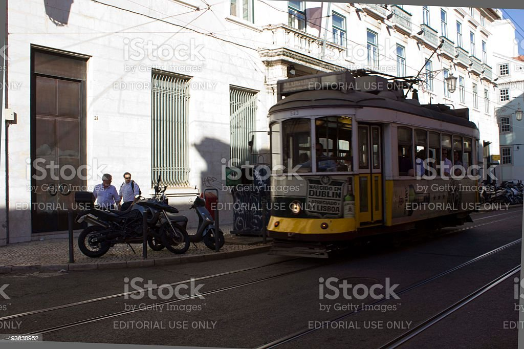 Lisbon traditional cable car stock photo