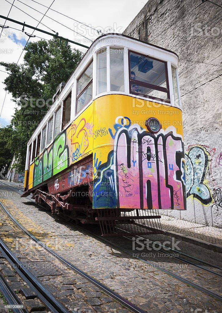Lisbon Tram Barrio Alto, Elevador Da Gloria, Portugal stock photo